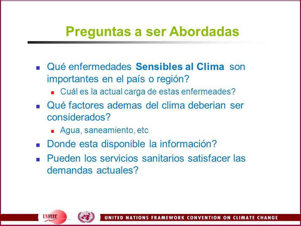 Preguntas a ser Abordadas Qué enfermedades Sensibles al Clima son importantes en el país o región? Cuál es la actual carga de estas enfermeades? Qué f