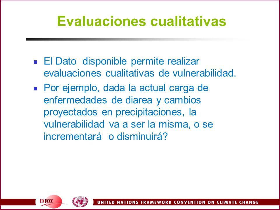 Evaluaciones cualitativas El Dato disponible permite realizar evaluaciones cualitativas de vulnerabilidad. Por ejemplo, dada la actual carga de enferm