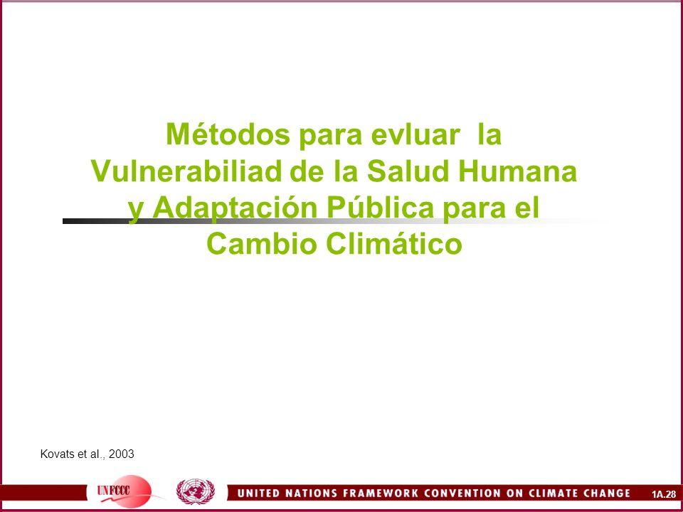1A.28 Métodos para evluar la Vulnerabiliad de la Salud Humana y Adaptación Pública para el Cambio Climático Kovats et al., 2003