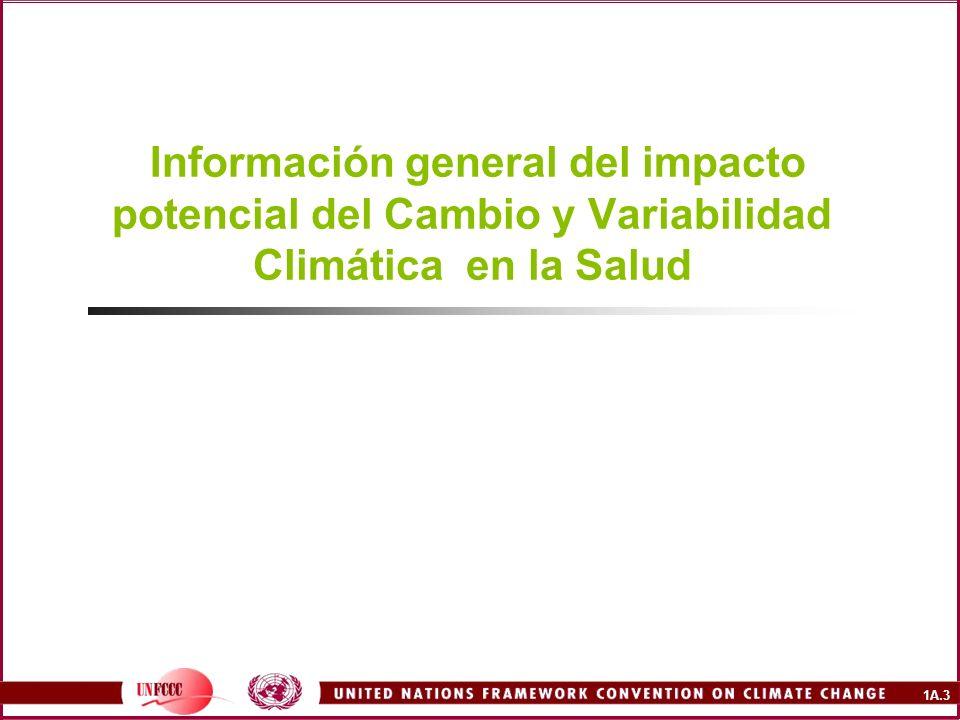 1A.3 Información general del impacto potencial del Cambio y Variabilidad Climática en la Salud