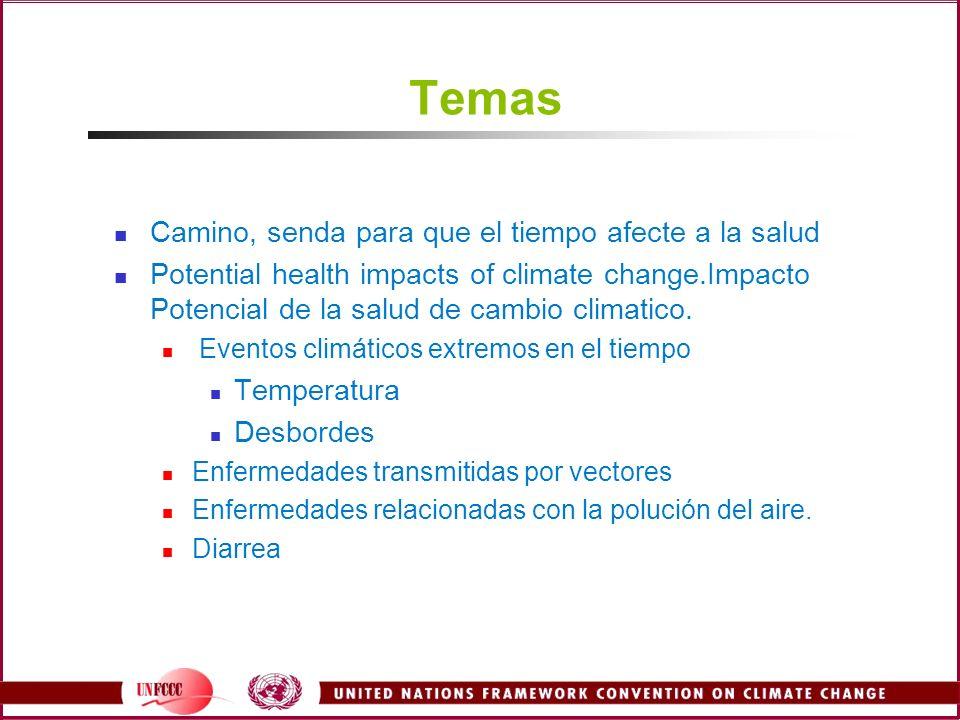 Criterio para la seleccion de los resultados sanitarios Suceptible a la variación climatica Importante carga sanitaria global Modelo Cuantitativo disponible en escala global Mala nutricion(prevaleciente) Diarrea(incidente) Enfermedades transmitidas por vectores –dengue y malaria falciparun Inundaciones en tierra y costas(mortalidad) Calor y frío relacionados con la mortalidad CVD Campbell-Lendrum et al., 2003