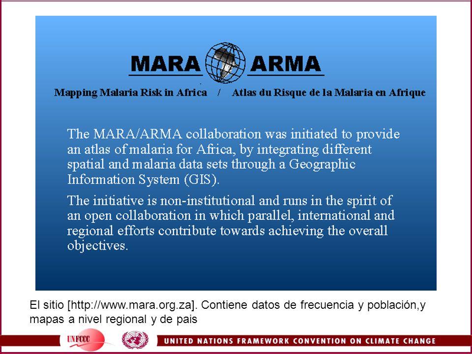 El sitio [http://www.mara.org.za]. Contiene datos de frecuencia y población,y mapas a nivel regional y de pais