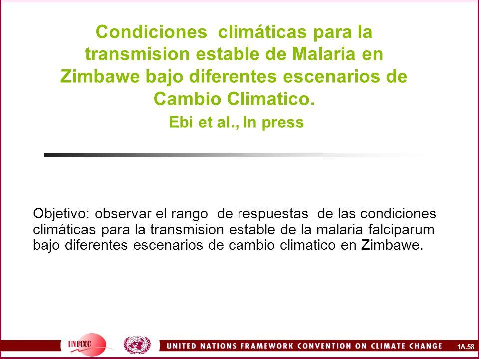 1A.58 Condiciones climáticas para la transmision estable de Malaria en Zimbawe bajo diferentes escenarios de Cambio Climatico. Ebi et al., In press Ob