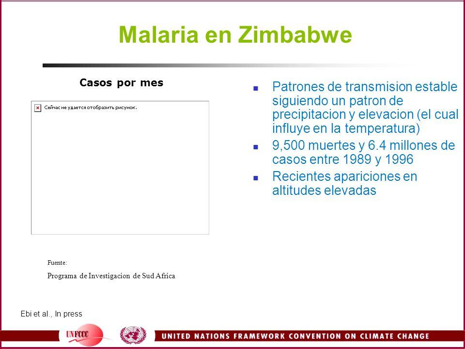 Malaria en Zimbabwe Patrones de transmision estable siguiendo un patron de precipitacion y elevacion (el cual influye en la temperatura) 9,500 muertes
