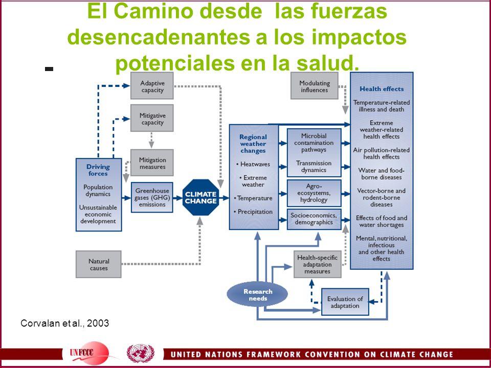 Corvalan et al., 2003 El Camino desde las fuerzas desencadenantes a los impactos potenciales en la salud.