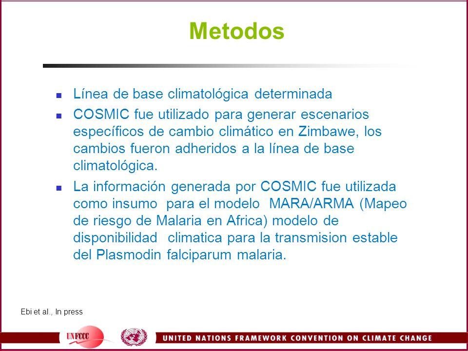 Metodos Línea de base climatológica determinada COSMIC fue utilizado para generar escenarios específicos de cambio climático en Zimbawe, los cambios f