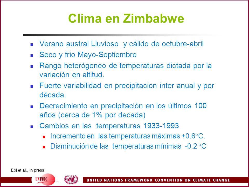 Clima en Zimbabwe Verano austral Lluvioso y cálido de octubre-abril Seco y frio Mayo-Septiembre Rango heterógeneo de temperaturas dictada por la varia
