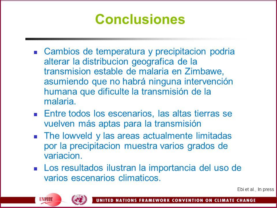 Conclusiones Cambios de temperatura y precipitacion podria alterar la distribucion geografica de la transmision estable de malaria en Zimbawe, asumien