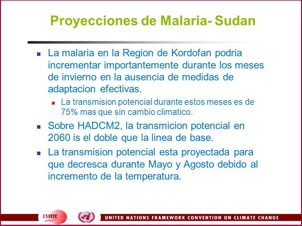 Proyecciones de Malaria- Sudan La malaria en la Region de Kordofan podria incrementar importantemente durante los meses de invierno en la ausencia de