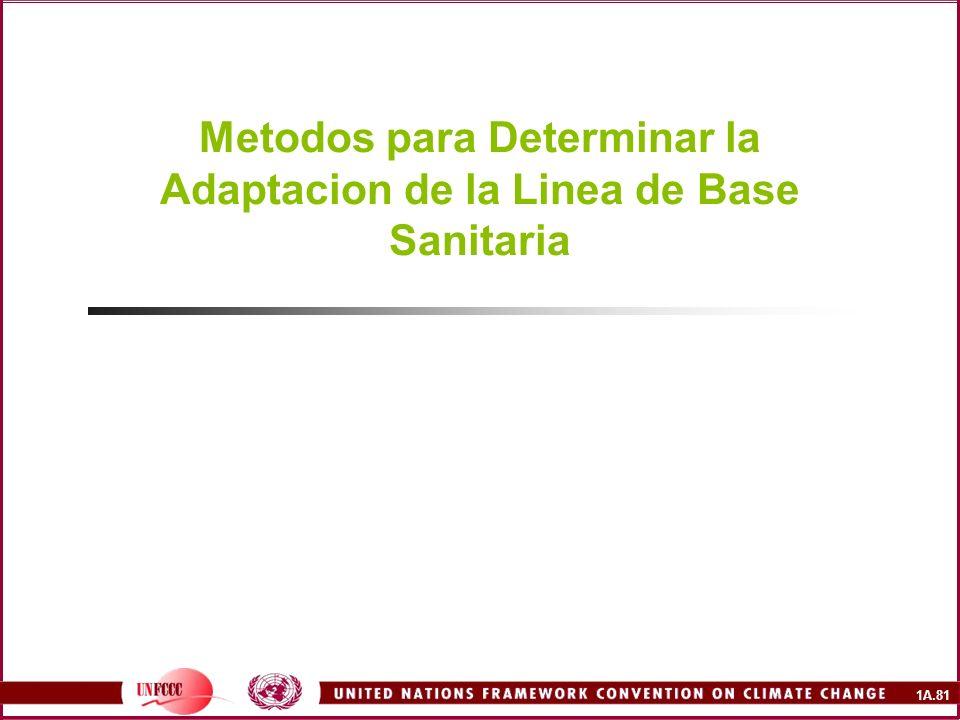 1A.81 Metodos para Determinar la Adaptacion de la Linea de Base Sanitaria