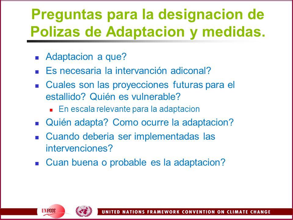 Preguntas para la designacion de Polizas de Adaptacion y medidas. Adaptacion a que? Es necesaria la intervanción adiconal? Cuales son las proyecciones