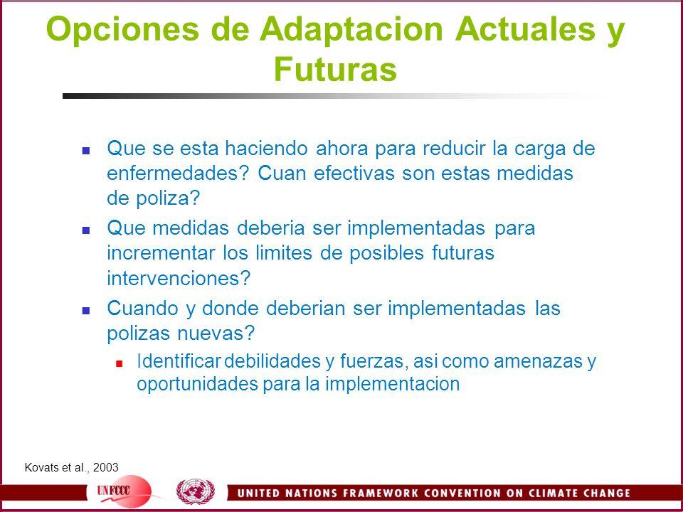 Opciones de Adaptacion Actuales y Futuras Que se esta haciendo ahora para reducir la carga de enfermedades? Cuan efectivas son estas medidas de poliza