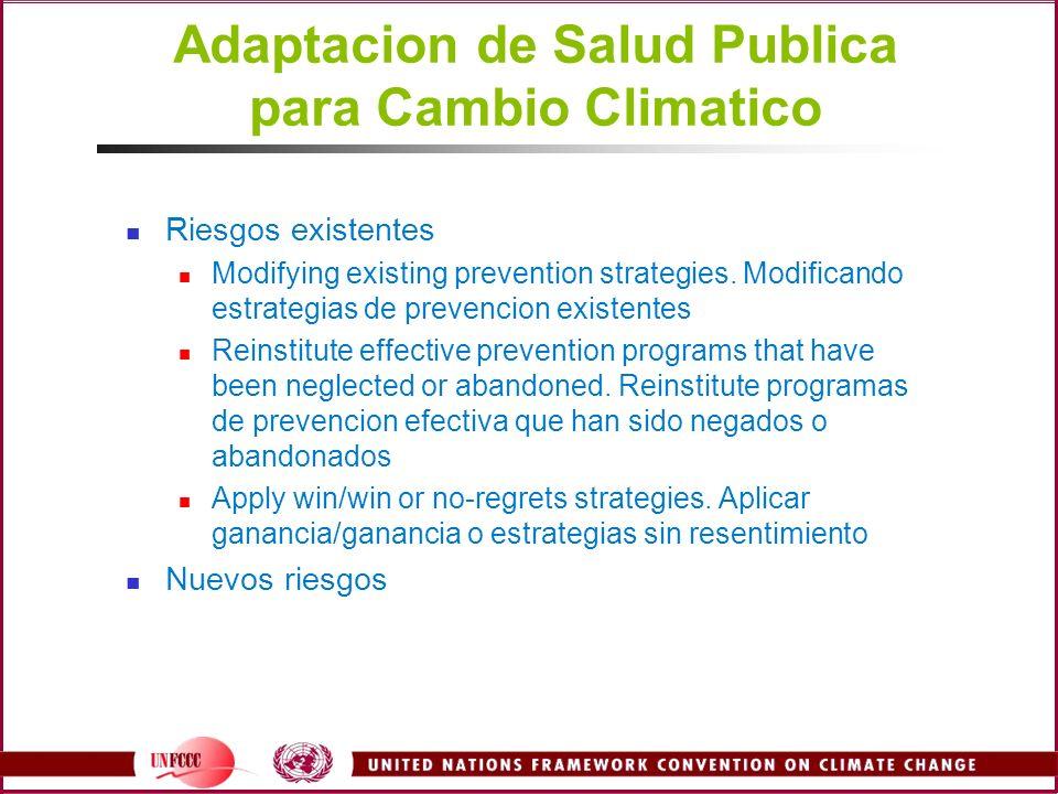 Adaptacion de Salud Publica para Cambio Climatico Riesgos existentes Modifying existing prevention strategies. Modificando estrategias de prevencion e