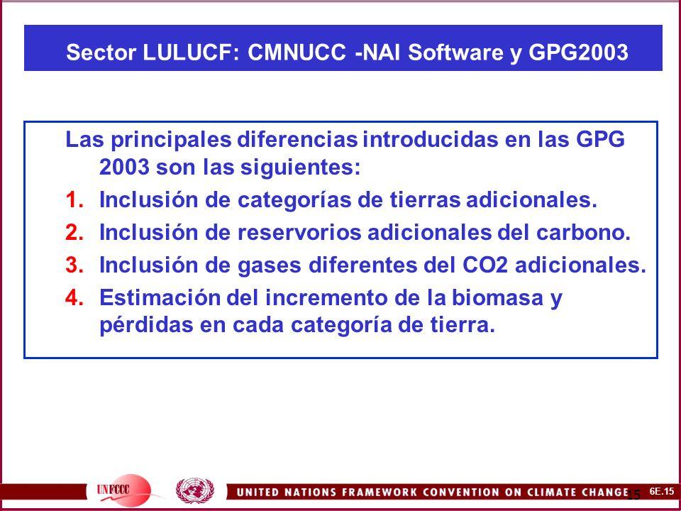 6E.15 15 Sector LULUCF: CMNUCC -NAI Software y GPG2003 Las principales diferencias introducidas en las GPG 2003 son las siguientes: 1.Inclusión de categorías de tierras adicionales.