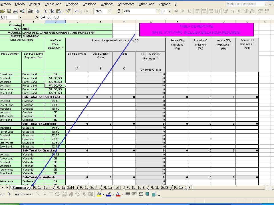 6E.25 25 TABLA DE REPORTE (EN EL SOFTWARE INCLUIDA EN LA HOJA RESUMEN)