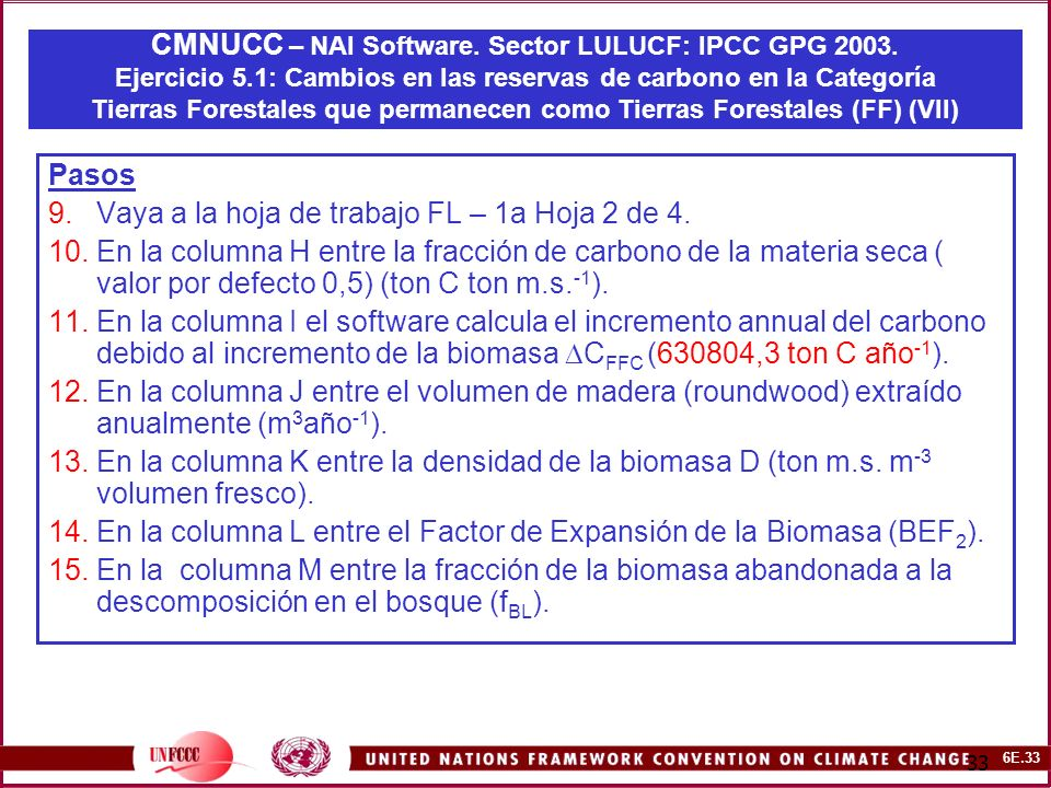 6E.33 33 CMNUCC – NAI Software. Sector LULUCF: IPCC GPG 2003.
