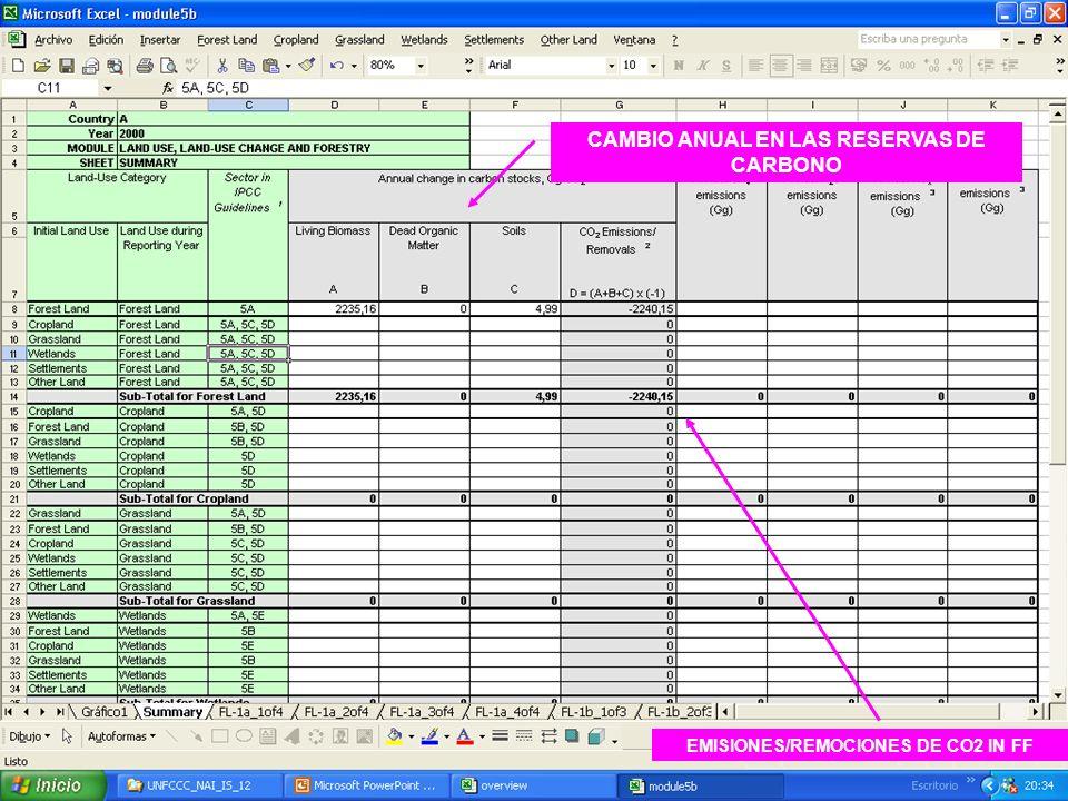6E.49 49 CAMBIO ANUAL EN LAS RESERVAS DE CARBONO EMISIONES/REMOCIONES DE CO2 IN FF
