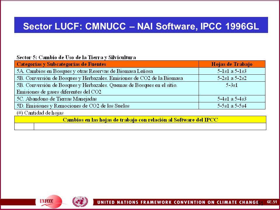 6E.51 51 Sector LUCF: CMNUCC – NAI Software, IPCC 1996GL
