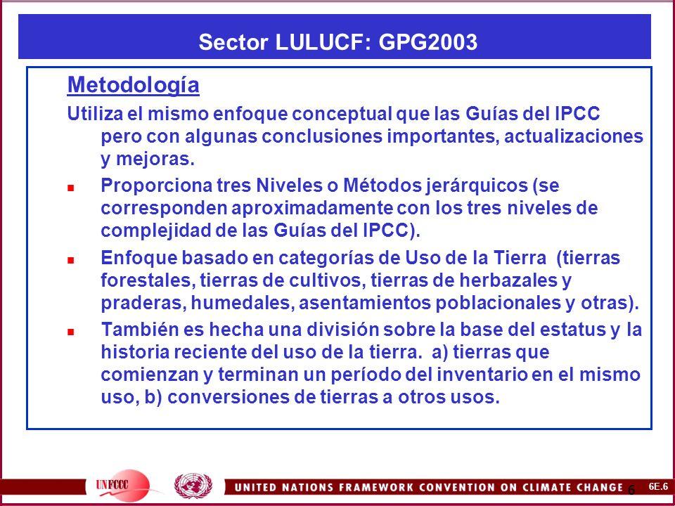 6E.17 17 Sector LULUCF: CMNUCC -NAI Software y GPG2003 Hojas de Trabajo y Tablas de Reporte 1.Las ecuaciones para estimar las emisiones y remociones de CO2 y gases diferentes del CO2 de las diferentes categorías en GPG2003 son trasladadas hacia las nuevas Hojas de Trabajo por defecto y las Tablas de Reporte (diseñadas utilizando, en lo posible, el mismo formato que en las IPCC Guidelines).