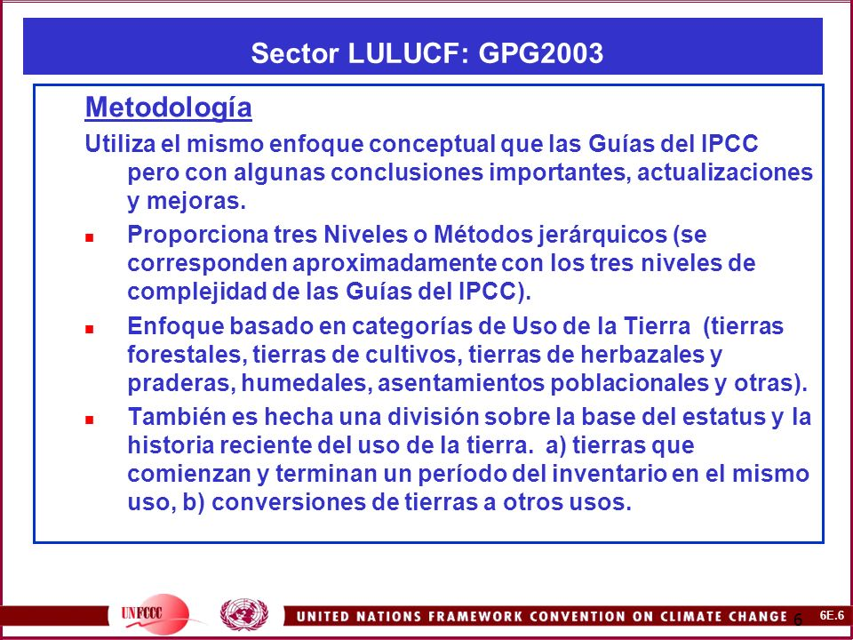 6E.27 27 CMNUCC – NAI Software.Sector LULUCF: IPCC GPG 2003.