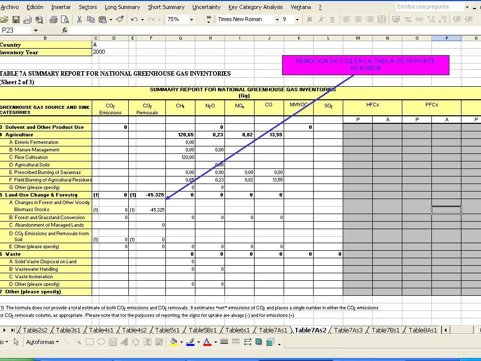 6E.64 64 REMOCION DE CO2 EN LA TABLA DE REPORTE RESUMEN