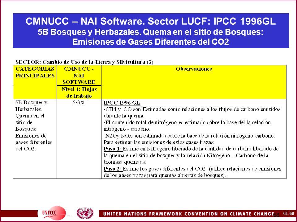 6E.68 68 CMNUCC – NAI Software. Sector LUCF: IPCC 1996GL 5B Bosques y Herbazales.