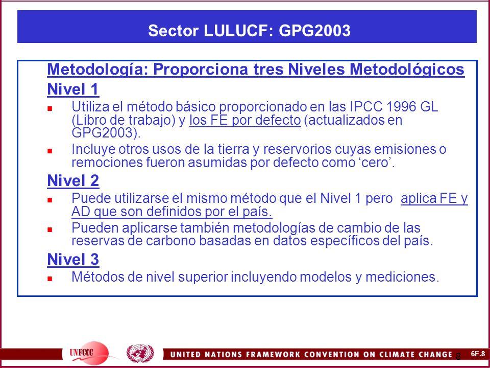 6E.8 8 Sector LULUCF: GPG2003 Metodología: Proporciona tres Niveles Metodológicos Nivel 1 Utiliza el método básico proporcionado en las IPCC 1996 GL (Libro de trabajo) y los FE por defecto (actualizados en GPG2003).
