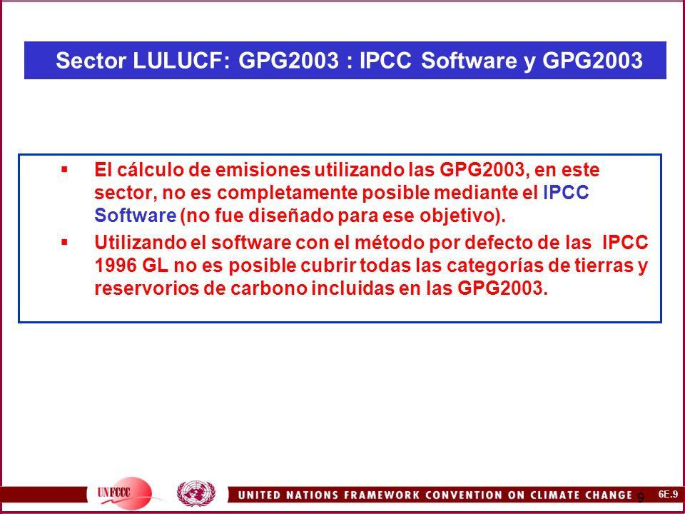 6E.10 10 Sector LULUCF: CMNUCC -NAI Software y GPG2003 Un nuevo módulo (Modulo 5B) ha sido adicionado al software actual de modo que los compiladores del inventario puedan aplicar las metodologías más recientes desarrolladas por el IPCC para el sector Cambio de Uso de la Tierra y Silvicultura (LULUCF) como son descritas en las IPCC Good Practice Guidance for Land Use, Land-Use Change and Forestry (2003 GPG-LULUCF).