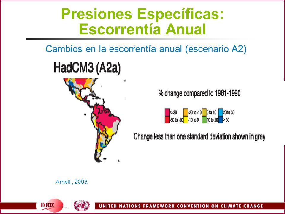 Presiones Específicas: Escorrentía Anual Arnell., 2003 Cambios en la escorrentía anual (escenario A2)