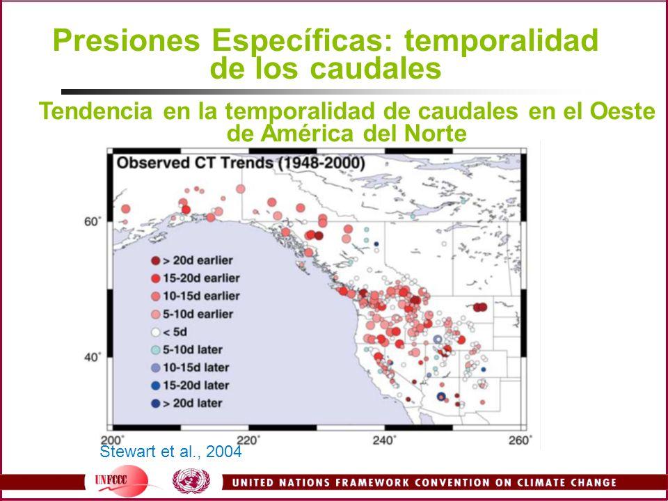 Presiones Específicas: temporalidad de los caudales Stewart et al., 2004 Tendencia en la temporalidad de caudales en el Oeste de América del Norte