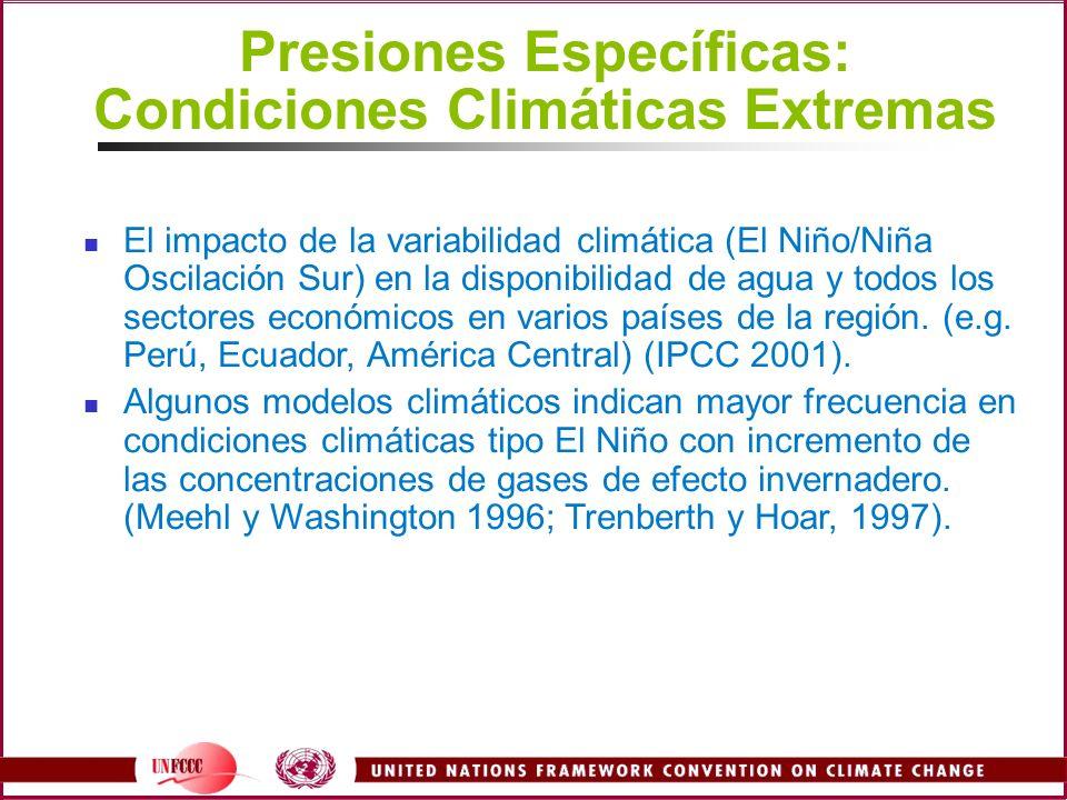 Presiones Específicas: Condiciones Climáticas Extremas El impacto de la variabilidad climática (El Niño/Niña Oscilación Sur) en la disponibilidad de a