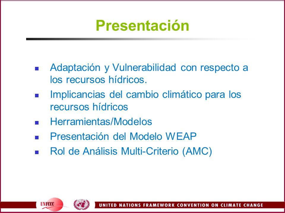 Presentación Adaptación y Vulnerabilidad con respecto a los recursos hídricos. Implicancias del cambio climático para los recursos hídricos Herramient
