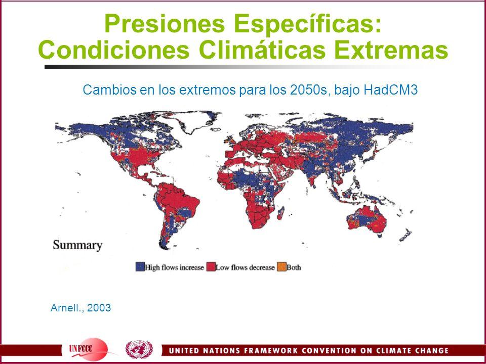 Presiones Específicas: Condiciones Climáticas Extremas Arnell., 2003 Cambios en los extremos para los 2050s, bajo HadCM3