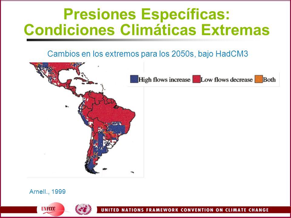 Presiones Específicas: Condiciones Climáticas Extremas Arnell., 1999 Cambios en los extremos para los 2050s, bajo HadCM3