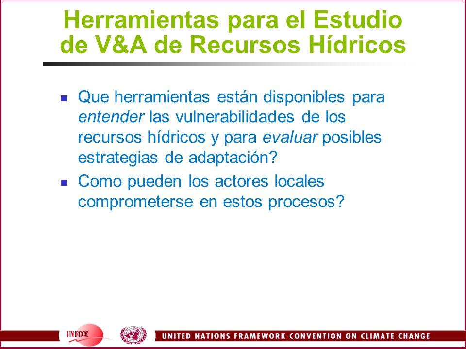 Herramientas para el Estudio de V&A de Recursos Hídricos Que herramientas están disponibles para entender las vulnerabilidades de los recursos hídrico