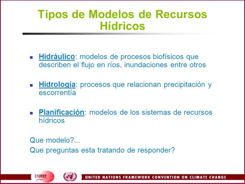 Tipos de Modelos de Recursos Hídricos Hidráulico: modelos de procesos biofísicos que describen el flujo en ríos, inundaciones entre otros Hidrología: