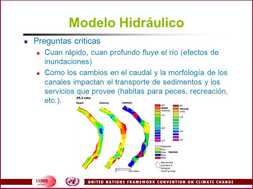 Modelo Hidráulico Preguntas criticas Cuan rápido, cuan profundo fluye el río (efectos de inundaciones) Como los cambios en el caudal y la morfología d