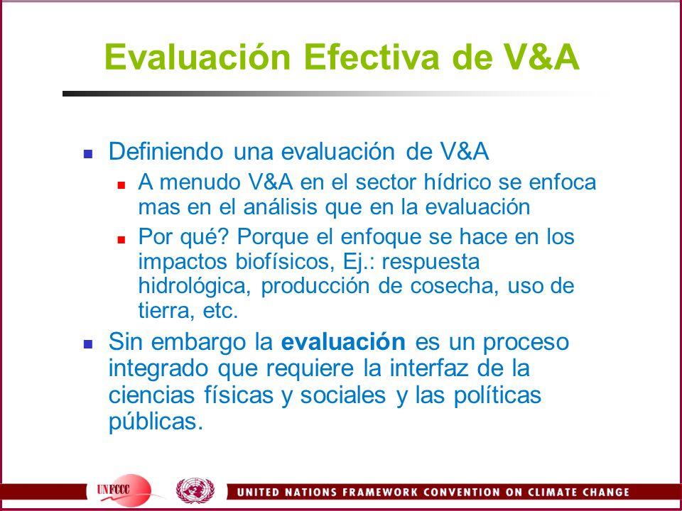 Evaluación Efectiva de V&A Definiendo una evaluación de V&A A menudo V&A en el sector hídrico se enfoca mas en el análisis que en la evaluación Por qu