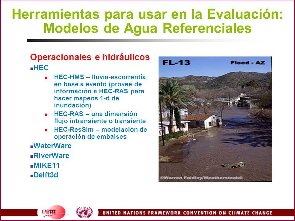 Operacionales e hidráulicos HEC HEC-HMS – lluvia-escorrentía en base a evento (provee de información a HEC-RAS para hacer mapeos 1-d de inundación) HE