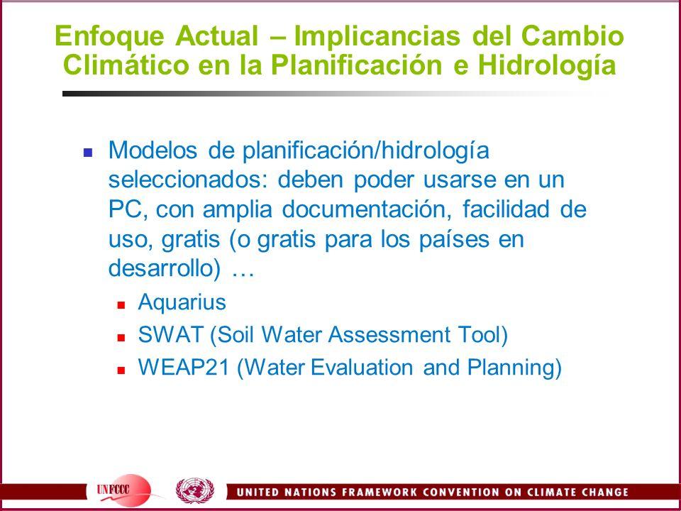 Enfoque Actual – Implicancias del Cambio Climático en la Planificación e Hidrología Modelos de planificación/hidrología seleccionados: deben poder usa