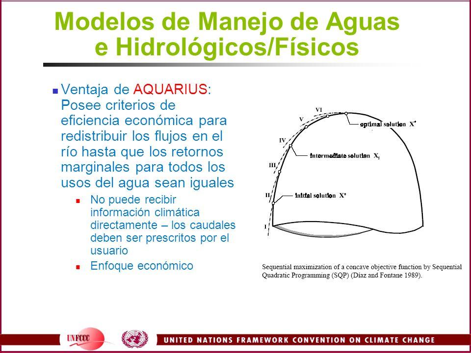 Modelos de Manejo de Aguas e Hidrológicos/Físicos Ventaja de AQUARIUS: Posee criterios de eficiencia económica para redistribuir los flujos en el río