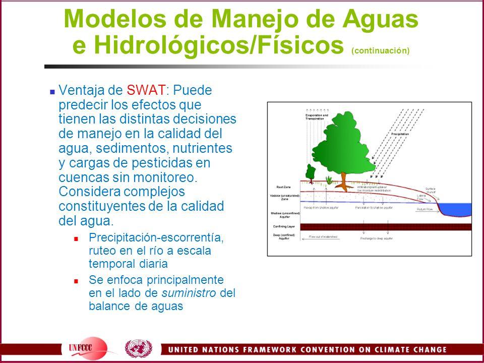 Modelos de Manejo de Aguas e Hidrológicos/Físicos (continuación) Ventaja de SWAT: Puede predecir los efectos que tienen las distintas decisiones de ma