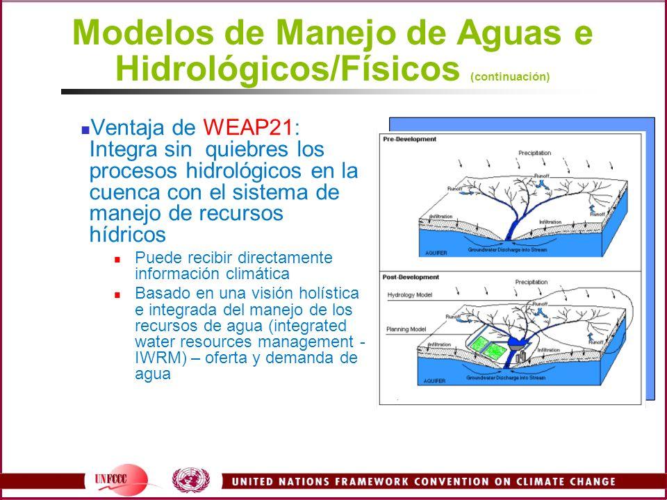 Modelos de Manejo de Aguas e Hidrológicos/Físicos (continuación) Ventaja de WEAP21: Integra sin quiebres los procesos hidrológicos en la cuenca con el