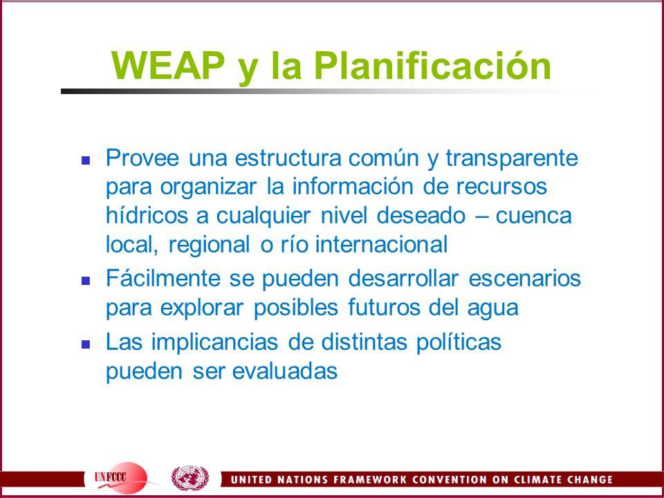 WEAP y la Planificación Provee una estructura común y transparente para organizar la información de recursos hídricos a cualquier nivel deseado – cuen