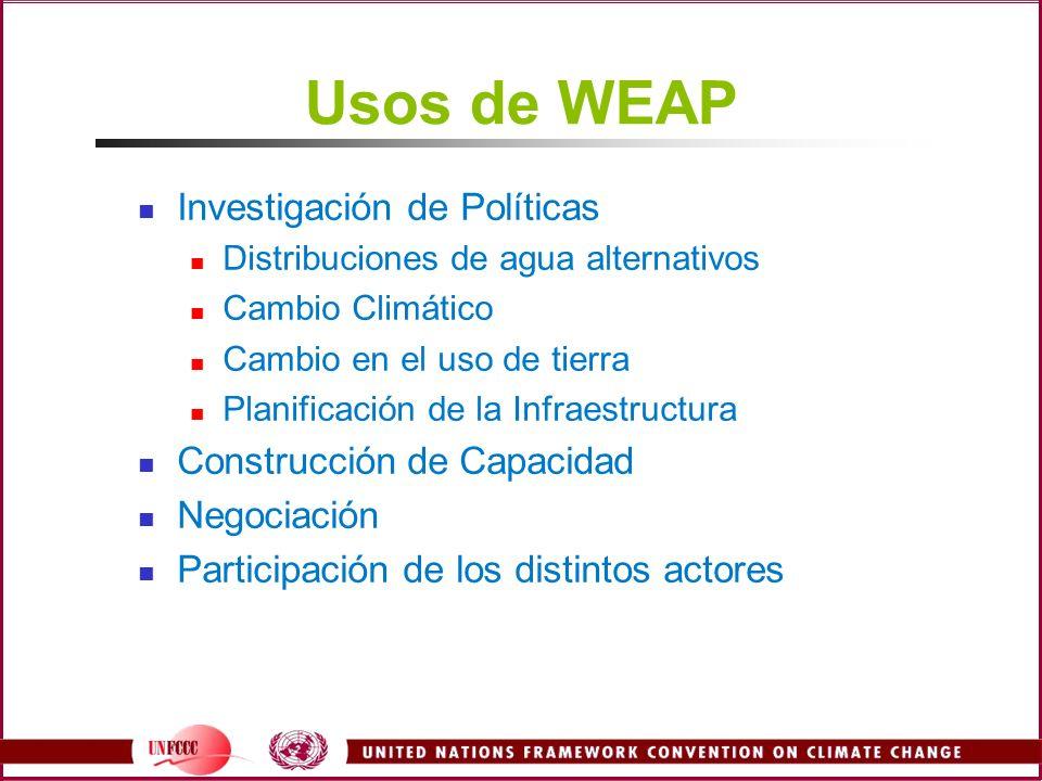 Usos de WEAP Investigación de Políticas Distribuciones de agua alternativos Cambio Climático Cambio en el uso de tierra Planificación de la Infraestru