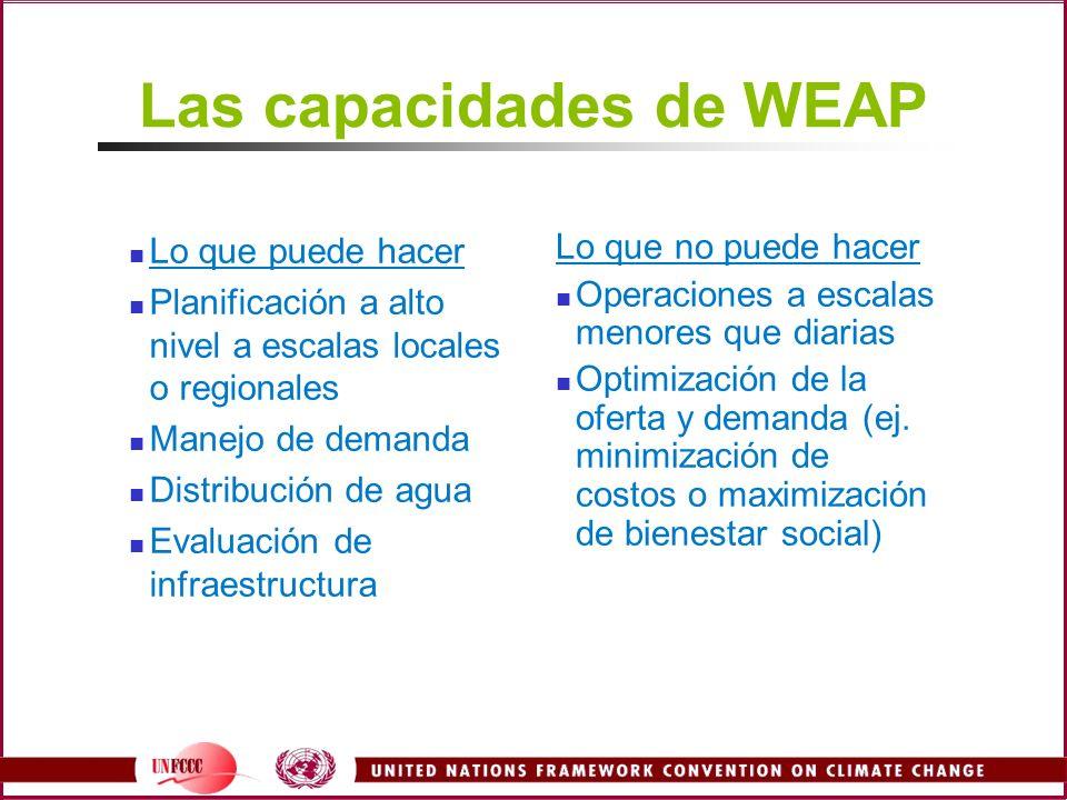 Las capacidades de WEAP Lo que puede hacer Planificación a alto nivel a escalas locales o regionales Manejo de demanda Distribución de agua Evaluación