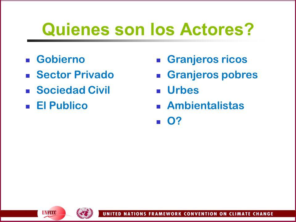 Quienes son los Actores? Gobierno Sector Privado Sociedad Civil El Publico Granjeros ricos Granjeros pobres Urbes Ambientalistas O?