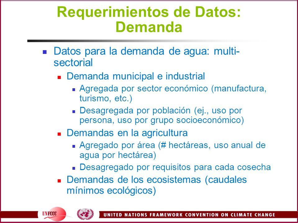 Requerimientos de Datos: Demanda Datos para la demanda de agua: multi- sectorial Demanda municipal e industrial Agregada por sector económico (manufac