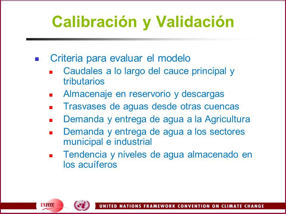 Calibración y Validación Criteria para evaluar el modelo Caudales a lo largo del cauce principal y tributarios Almacenaje en reservorio y descargas Tr