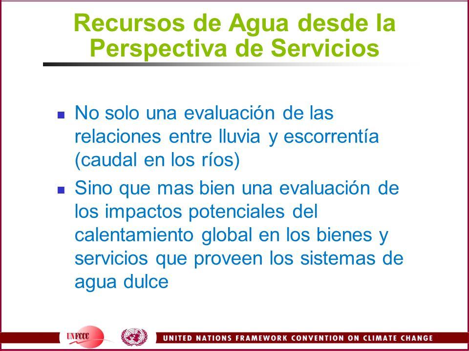 Recursos de Agua desde la Perspectiva de Servicios No solo una evaluación de las relaciones entre lluvia y escorrentía (caudal en los ríos) Sino que m